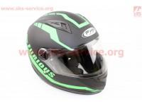 Шлем закрытый HF-111 M- ЧЕРНЫЙ матовый с зеленым рисунком Q154 [FXW]