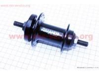Втулка передняя MTB алюминиевая 14Gx36H под диск. тормоз, крепл. гайка, черная KT-TD6F [QUANDO]