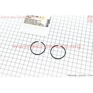 Кольца поршневые 34х1,5мм Stihl FS-38/45/55, OLEO MAC SPARTA 25 ОРИГИНАЛ [STIHL]