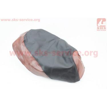 Чехол сидения Honda DIO FIT (эластичный, прочный материал) черный/коричневый [Украина]
