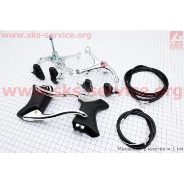 "Тормоз ""ШОССЕ"" V-brake задний+передний алюминиевый в сборе, клещевого типа, рычаги+троса [ALHONGA]"