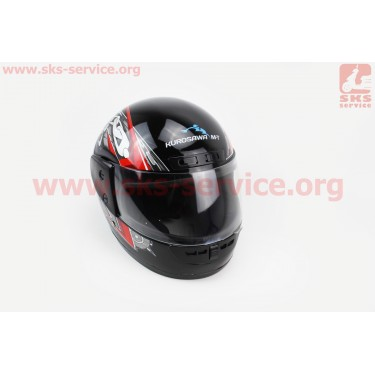 Шлем закрытый HF-101 S- ЧЕРНЫЙ с красно-серым рисунком Q23-R [KUROSAWA]