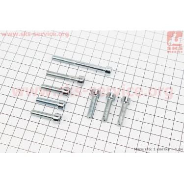 Болт крепления крышка вариатора Yamaha  GEAR 4T - к-кт 8шт (под шестигранник) [SALO]