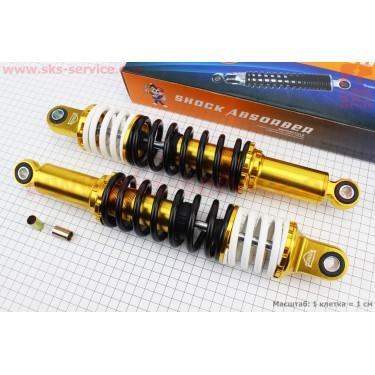 Амортизатор задний JH/CB/CG - 335мм*d60мм (втулка 12мм / втулка 10мм) с двойной пружиной регулир., черный (корпус желтый) к-кт 2шт [JWBP]