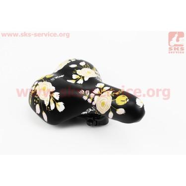 Сиденье, черное (рисунок цветы), BSK-N663 [Baisike]