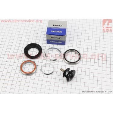 """Рулевые чашки 1-1/8""""х1-1/4"""" (42/28,6x47/33) без резьбовой вилки, интегрированные, пром-подшипники, черные KL-B560 [KENLI]"""