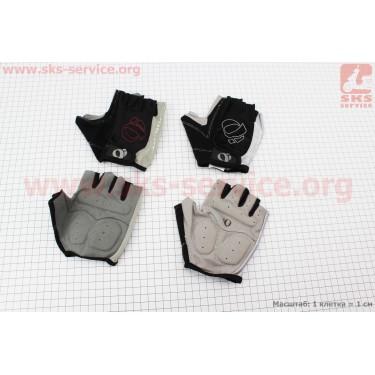 Перчатки без пальцев XL-черно-серые, с мягкими вставками под ладонь [PEARL iZUMi]