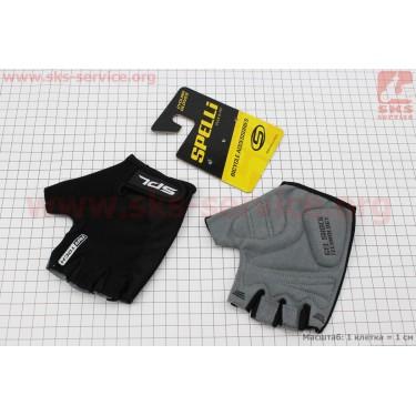 Перчатки без пальцев S-черные, с гелевыми вставками под ладонь SBG-1457 [SPELLI]