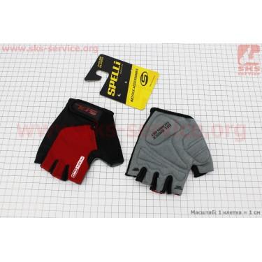 Перчатки без пальцев S-черно-красные, с гелевыми вставками под ладонь SBG-1457 [SPELLI]