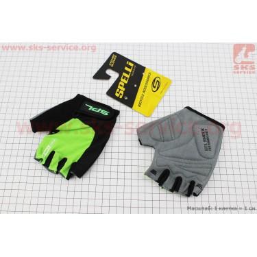 Перчатки без пальцев S-черно-салатовые, с гелевыми вставками под ладонь SBG-1457 [SPELLI]