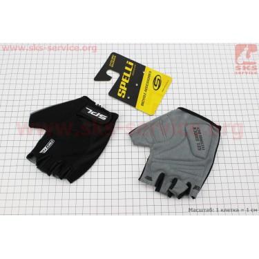 Перчатки без пальцев M-черные, с гелевыми вставками под ладонь SBG-1457 [SPELLI]