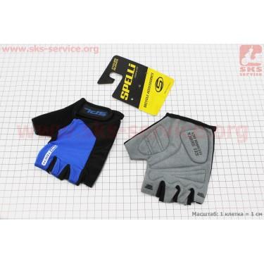 Перчатки без пальцев M-черно-cиние, с гелевыми вставками под ладонь SBG-1457 [SPELLI]