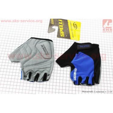 Перчатки без пальцев XL-черно-cиние, с гелевыми вставками под ладонь SBG-1457 [SPELLI]