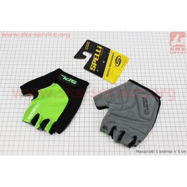 Перчатки без пальцев L-черно-салатовые, с гелевыми вставками под ладонь SBG-1457 [SPELLI]