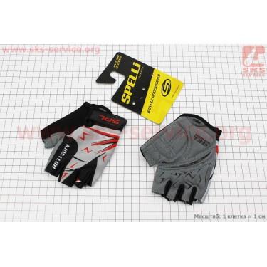 Перчатки детские без пальцев 2XS-черно-серо-красные, с мягкими вставками под ладонь SKG-1553 [SPELLI]