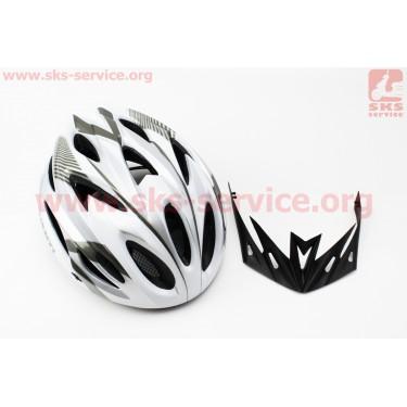 Шлем велосипедный L (58-61 см) съемный козырек, 18 вент. отверстия, системы регулировки по размеру Divider и Run System SRS, черно-бело-cерый AV-01 [AVANTI]