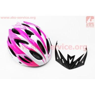 Шлем велосипедный M (54-57 см) съемный козырек, 18 вент. отверстия, системы регулировки по размеру Divider и Run System SRS, бело-розовый AV-01 [AVANTI]