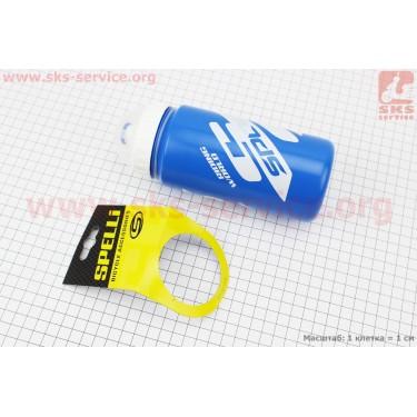 Фляга пластиковая 600мл, с защитной крышкой, сине-белая SWB-528 [SPELLI]