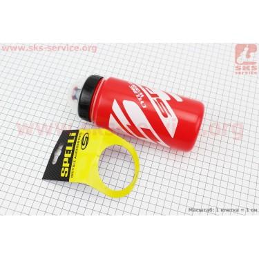 Фляга пластиковая 600мл, с защитной крышкой, красно-белая SWB-528 [SPELLI]