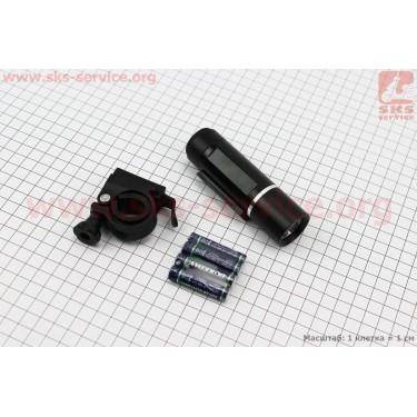 Фонарь передний 1 диод (линза), алюминиевый, черный JY-246 [Китай]