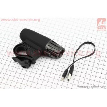Фонарь передний 1 диод 300 lumen, Li-ion 3.7V 1200mAh зарядка от USB, влагозащитный, черно-серый [Китай]