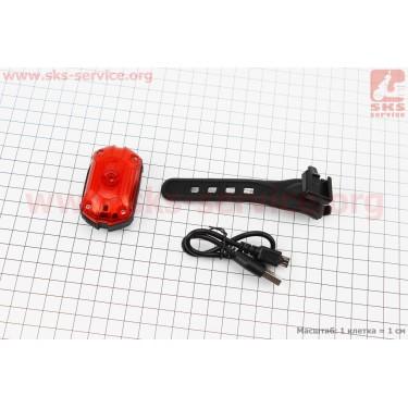 Фонарь задний 1 диод 25 lumen, Li-ion 3.7V 700mAh зарядка от USB, влагозащитный, JY-6097T [Китай]