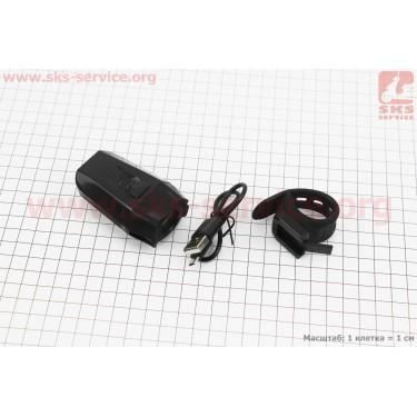 Фонарь передний 1 диод 400 lumen, Li-ion 3.7V 1500mAh зарядка от USB, влагозащитный, черный JY-7027 [Китай]