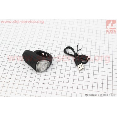 Фонарь передний 1 диод, силиконовый, Li-ion 3.7V 200mAh зарядка от USB, влагозащитный, черный JY-378M [Китай]