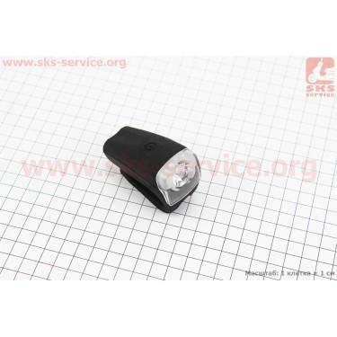 Фонарь передний 1 диод, силиконовый, Li-ion 3.7V 480mAh зарядка от USB, влагозащитный, черный JY-378FU [Китай]
