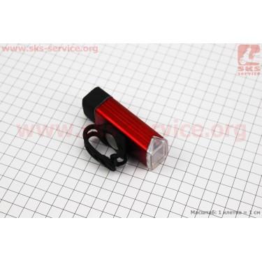 Фонарь передний 1 диод 180 lumen алюминиевый, Li-ion 3.7V 1200mAh зарядка от USB, влагозащитный, красный MC-QD001 [Китай]
