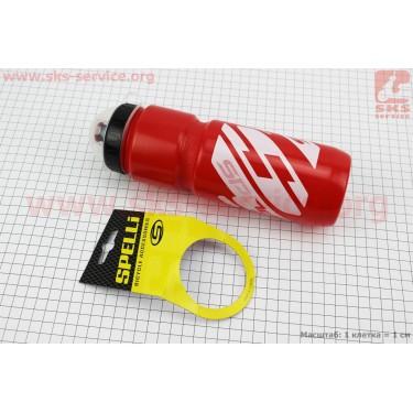 Фляга пластиковая 800мл, с защитной крышкой, красно-белая SWB-528-L [SPELLI]