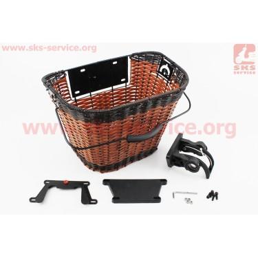 Корзина багажная на руль съемная, коричневая JL-CK101 [Китай]