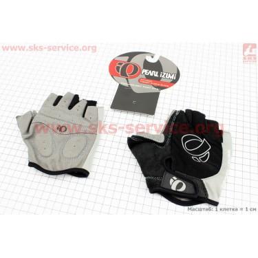 Перчатки без пальцев L-черно-серые, с мягкими вставками под ладонь [PEARL iZUMi]