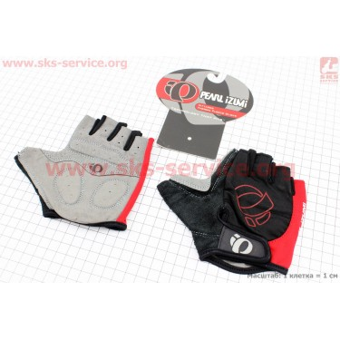 Перчатки без пальцев M-черно-красные, с мягкими вставками под ладонь [PEARL iZUMi]