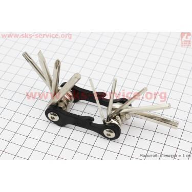 Ключ-набор 10предметов (шестигранники 2,2.5,3,4,5,6мм, отвёртки прямая и фигурная, Т25 ключ-звездочка, открывалка), KL-9834A