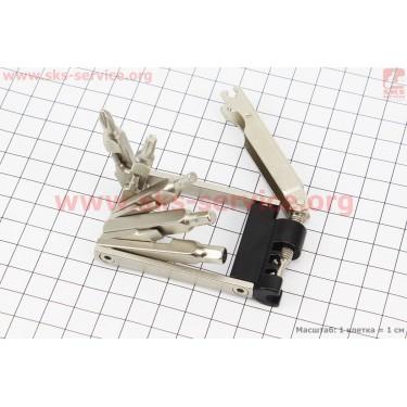 Ключ-набор 11предметов (шестигранники 2,2.5,3,4,5,6мм, отвёртки прямая и фигурная, Т25 ключ-звездочка, спицные ключи 14,15G, выжимка цепи), KL-9835A [Китай]