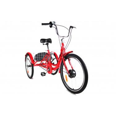 Трёхколесный Электровелосипед СARGO CITY BIKE литий ионный АКБ с корзиной КРАСНЫЙ