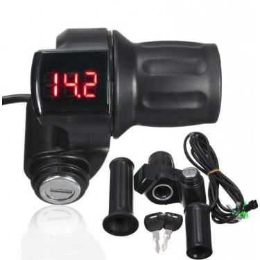 Ручка газа половинка с ключем от 12 до 100V с индикацией заряда АКБ вольтметром