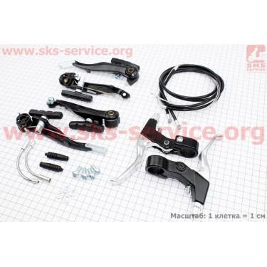 Тормоз V-brake задний+передний в сборе 120мм, рычаги+троса, черные SYPO YD-V26-В5 [Китай]