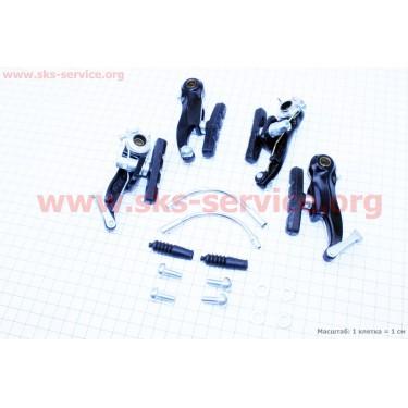 Тормоз V-brake задний+передний в сборе 80мм, черные SYPO YD-V29