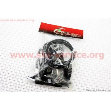 Тормоз V-brake задний+передний в сборе 80мм+рычаги+троса, черные SYPO YD-V29