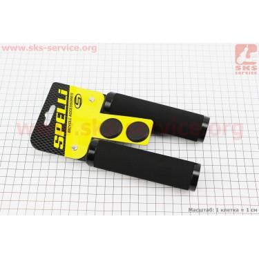 Рукоятки руля 130мм с зажимом Lock с двух сторон, неопреновые к-кт, черные SBG-672 [SPELLI]