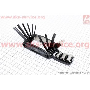 Ключ-набор 13предметов (шестигранники 2,2.5,3,4,5,6мм, откидной спицной ключ, отвёртки прямая и фигурная, головки 8,9,10мм, лопатка), KL-9801 [Китай]