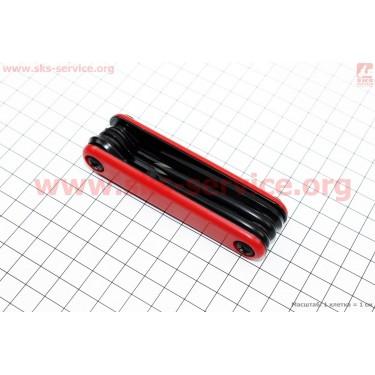 Ключ-набор 7предметов (шестигранники 2,3,4,5,6мм, отвёртки прямая и фигурная), KL-9804 [Китай]