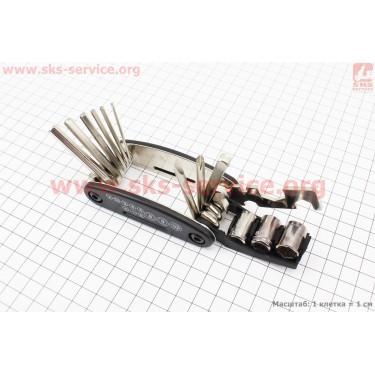 Ключ-набор 15предметов (шестигранники 2,2.5,3,4,5,6мм, спицной ключ, отвёртки прямая и фигурная, головки 8,9,10мм, гаечные ключи 8,10,15мм), KL-9802 [Китай]