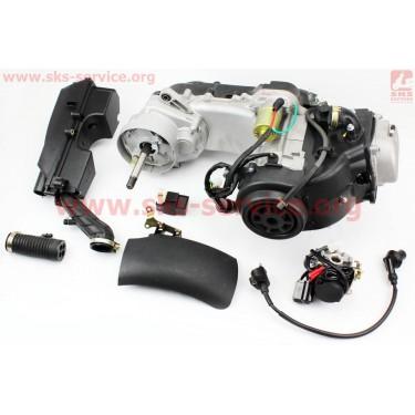 Двигатель скутерный в сборе 4Т-80куб (короткий вариатор, длинный вал) + карбюратор, коммутатор, катушка зажигания, фильтр воздушный [Mototech]