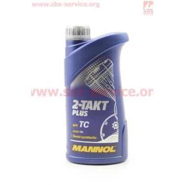 2T PLUS масло для 2-х такт. двигателей полусинтетическое, 1л [MANNOL]